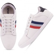 Butchi White Lace-up Synthetic Air Mix Sneakers Casual Shoes For Men