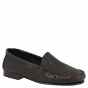 Leonardo Shoes Mocassini slip-on da donna fatti a mano in pelle di vitello traforata nera 580 VITELLO NERO