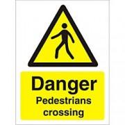 Unbranded Warning Sign Pedestrians Crossing Plastic 40 x 30 cm