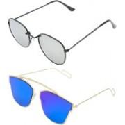 TFASH Aviator, Wayfarer, Round Sunglasses(Grey, Blue)