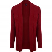 River Island Mens Red cable knit open front cardigan