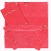 Travel Documents Set - Red Suede with Bling
