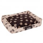 Cama Oekobed com almofada reversível com um padrão de patas para cães - C 100 cm x L 80 cm x A 25 cm