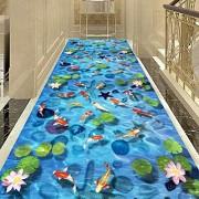 Aon-MX Pasillo Corredor Zona Alfombra 3D Azul Agua De Lago Extra Largo Paso Alfombras Perfil Bajo Antideslizante Salón Entrada Estera, 6 Mm, Personalizable,1 * 3m