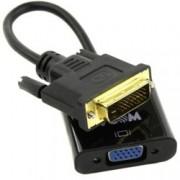 Преходник VCom CG491-0.15m, активен преобразувател, от DVI-D(м) към VGA(ж), 0.15м, черен