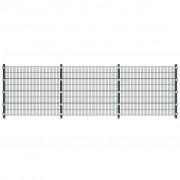 vidaXL Панел за ограда със стълбове, 6 х 1,6 м