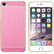 Colorfone PREMIUM CoolSkin Leather / Leren Look / Leder / Siliconen / Gel / TPU / Softcase / Hoesje / Cover / Case voor de Apple iPhone 7 in Roze