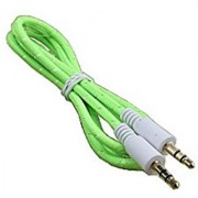 3.5mm Cotton Wired Male To Male Stereo Audio Cable - Step Down Design for Smartphone Android Phone Tablet Desktop Computer Laptop Portable Speakers and MP3 Cases - 1M (Flourescent Green)