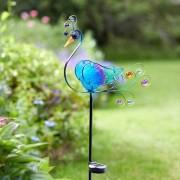 Kerti napelemes LED páva világítás kék 94 cm