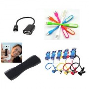 (L2) Combo of Lazy Stand OTG Cable Finger Grip and LED Light for Smartphones (Assorted colors)