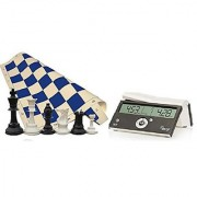Tournament Chess Set - 34 Chess Pieces - Blue Chess Board (20 x 20 Vinyl Rollup) - DGT Black Easy Chess Timer Game Clock - ChessCentral's Play Chess - Have Fun! E-Book