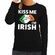 Bellatio Decorations Kiss me I am Irish sweater zwart dames