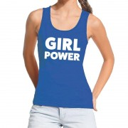 Bellatio Decorations Girl power tekst tanktop / mouwloos shirt blauw dames