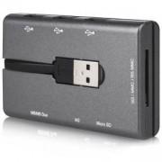 Четец за карти CANYON Combo, 3 USB, USB 2.0, Сив, CNE-CMB1