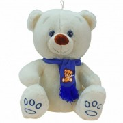 Geen Grote pluche knuffelbeer Wolly creme-blauw 100 cm