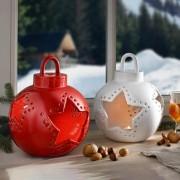 Weihnachtskugel-Windlicht Keramik, Weiss