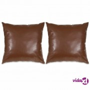 vidaXL Set jastuka od PU kože 2 kom 45x45 cm smeđi