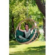 Amazonas Globo Chair Hangstoel - 1 Persoons - Hout - Weerbestendige Groene Kussens