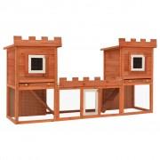 vidaXL Външна клетка за зайци/малки животни дървена голяма двойна къща