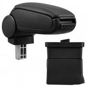 Středová loketní opěrka - vhodná pro: Ford Ka od 2009 - umělá kůže - Černá s černými švy