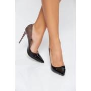 Pantofi gri elegant din piele ecologica lacuita cu varful usor ascutit cu toc inalt
