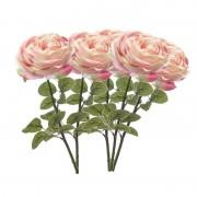 Merkloos 5x Lichtroze rozen kunstbloemen 66 cm