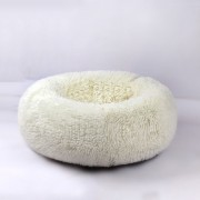 Dog Round Cat Winter Warm Sleeping Bag Plush Soft Pet Bed Calming Bed 60x26cm - White