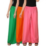 Culture the Dignity Women's Rayon Solid Palazzo Pants Palazzo Trousers Combo of 3 - Green - Orange - Baby Pink - C_RPZ_GOP2 - Pack of 3 - Free Size