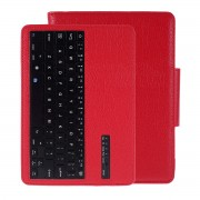 Wireless Bluetooth Keyboard Litchi Skin Leather Smart Case for Samsung Galaxy Tab S6 T860 T865 - Red