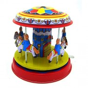 KKY Classic Vintage Clockwork Wind Up Merry-Go-Round Children Kids Tin Toys with Ke