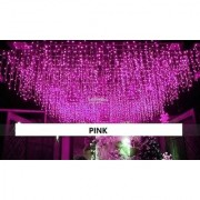 Waterfall curtains string fairy lights Led fairy light decorative string curtain (Pink)