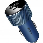 ROCK Sitor Mini PD Type-C + USB A Car Charger Adapter for iPhone iPad Samsung HTC LG Sony Etc - Blue