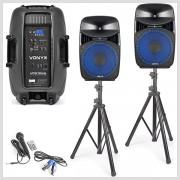 Aktívne reproboxy VPS152A 1000W v párty sete stojany a mikrofóny Vonyx
