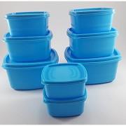 Plastic Food Storage Containers Set of 8 PCS (1350 ml 750 ml 500 ml 250 ml) Blue