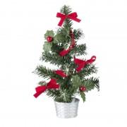 Geen Mini kerstboompje zilver met rode versiering 20 cm