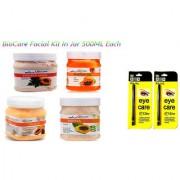Bio Care Papaya Facial Kit Face Cream+Scrub+Mask+Gel 500 gm Plastic Jar With 2 Eye Care Kajal Pencil