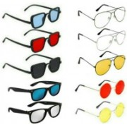 INSH Wayfarer, Round, Aviator, Rectangular Sunglasses(Red, Black, Yellow, Clear, Silver, Blue)