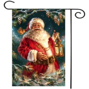 30X45CM Santa Christmas Garden Flag Lantern Holiday Tree Banner