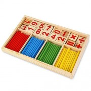 CULER Montessori Mathematical Intelligence Stick Preschool Educational Toys - Wooden Number Cards & Counting Rods...