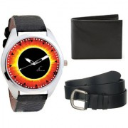 Combo of Lava Black Strap Round Dial Analogue Wrist Watch Black Wallet And Black Belt