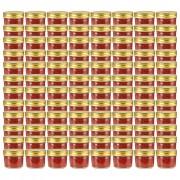 vidaXL Стъклени буркани за сладко със златисти капачки, 96 бр, 110 мл