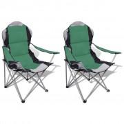 vidaXL Cadeira de campismo reclinável XXL, 2 peças com bolsa / Verde
