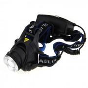 UltraFire LED 900lm 3 Modos de luz blanca de zoom de faros - Negro + azul