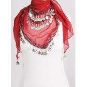 Muntjes buikdans sjaal rood/zilver