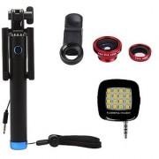 Techvik Combo of Locust Aux Selfie Stick + 3 In 1 Clip Mobile Camera Lens Kit + External 16 LED Selfie Night Flash Light