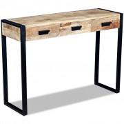 vidaXL Konsolbord med 3 lådor massivt mangoträ 110x35x78 cm