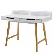 [en.casa]® Íróasztal Karlsruhe design sminkasztal fésülködő asztal fehér 85 x 110 cm tároló felülettel