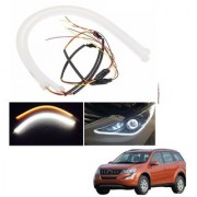 Auto Addict 2PCS 60cm (24 ) Car Headlight LED Tube Strip Flexible DRL Daytime Running Silica Gel Strip Light DC 12V Soft Tube Lamp Fancy Light (Yellow White) For Mahindra XUV 500 New