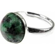 Inel argint reglabil cu rubin zoisit natural 10 MM GlamBazaar Reglabila cu Rubin zoisit Verde tip inel reglabil de argint 925 cu