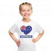Bellatio Decorations I love Australie t-shirt wit kinderen M (134-140) - Feestshirts